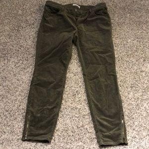 Loft green corduroy ankle zip pants